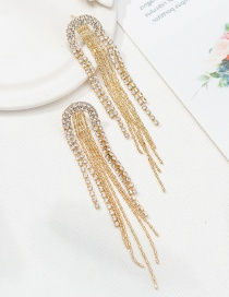 Fashion Gold Chain And Diamond Earrings