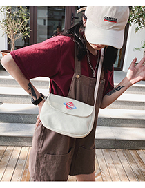 Fashion White Mars Embroidered Cloth Standard Planet Canvas Shoulder Bag