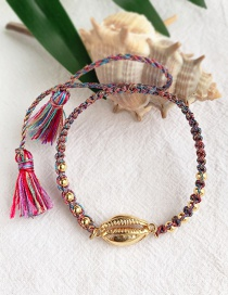 Fashion Purple + Gold Alloy Woven Shell Beads Bracelet