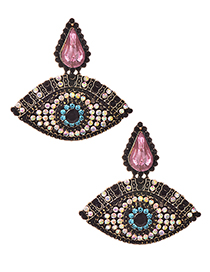 Fashion Pink Alloy Diamond Eye Studs
