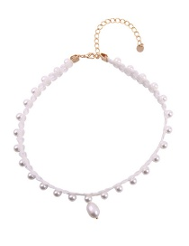 Fashion White Lace Neckband Pearl Necklace