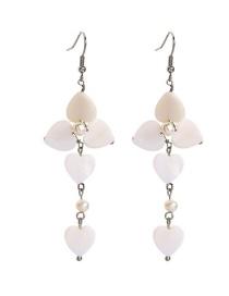 Fashion White Seashell Shell Flower Pearl Earrings