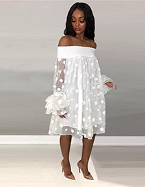 Fashion White One-shoulder Multi-layered Fungus Large Wave Point Mesh Double-layer Dress