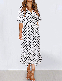 Fashion White Printed Wave Point V-neck Strap With Ruffled Irregular Hem Dress