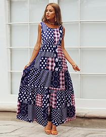 Fashion Blue Round Neck Polka Dot Print Plaid Dress