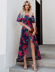 Fashion Blue Red One-shoulder Wrapped Chest Print High Slit Dress