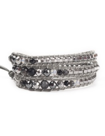Fashion Gray Natural Crystal Obsidian Woven Multi-button Bracelet