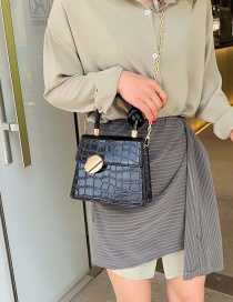 Fashion Black Stone Pattern Shoulder Bag