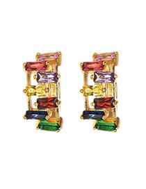 Fashion Gold Copper Inlaid Zircon Earrings