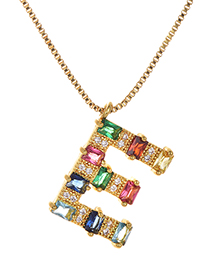 Fashion E Gold Color Copper Inlaid Zircon Letter Necklace