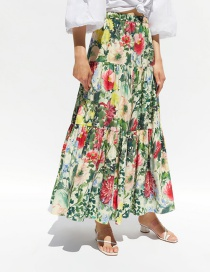 Fashion Color Ruffled Floral Print Skirt