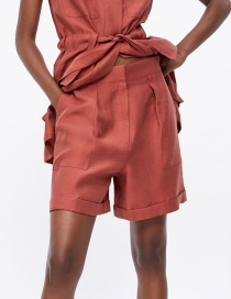 Fashion Brick Red Pocket Shorts
