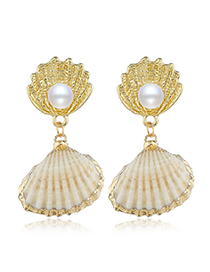 Fashion Yellow Alloy Shell With Diamond Earrings