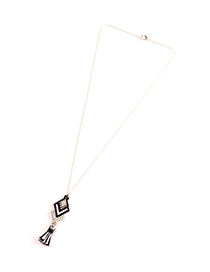 Fashion Black And White Tassel Rice Beads Woven Geometric Necklace