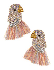 Fashion Ab Color Alloy Diamond-studded Bird Tassel Earrings