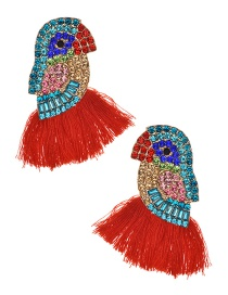 Fashion Red Alloy Diamond-studded Bird Tassel Earrings