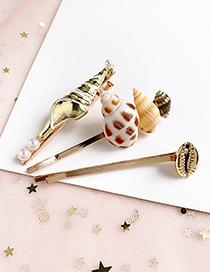 Fashion Gold Alloy Shell Conch Hair Clip Three-piece