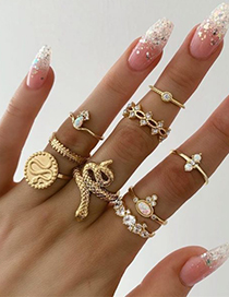 Fashion Gold Alloy Snake Ring Combination
