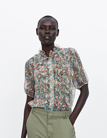 Fashion Printing Flower Print Shirt