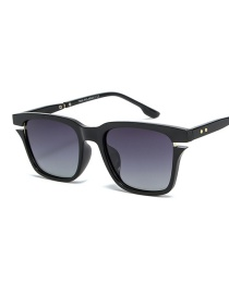 Fashion Black Frame Double Gray Square Notched Sunglasses