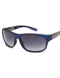Fashion Blue Frame Gray Piece Elliptical Curved Sunglasses