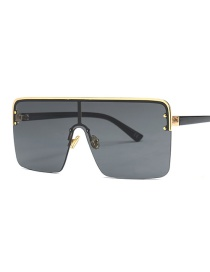 Fashion Gold Frame Full Gray Siamese Lens Sunglasses