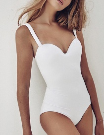 Fashion White Solid Color Hard Steel Plated One-piece Swimsuit