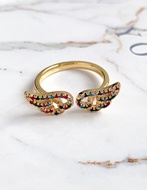 Fashion Gold Copper Inlaid Zircon Wings Ring