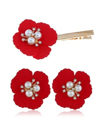 Fashion Red Alloy Flower Pearl Earrings Hair Clip Set