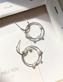 Fashion Silver Pearl Hollow Ring Stitching Stud Earrings