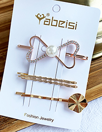 Fashion Bow Alloy Diamond Pearl Hair Clip Set