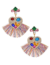 Fashion Color Alloy Diamond-studded Tassel Earrings