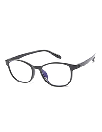 Fashion Bright Black Frame C1 Oval Anti-blue Flat Mirror Glasses