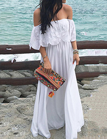 Fashion White Solid Color One-shoulder Ruffled Dress