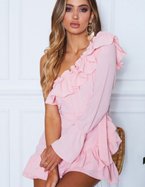 Fashion Pink Solid Ruffled One-shoulder Lace Dress