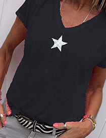 Fashion Black Star Print V-neck T-shirt
