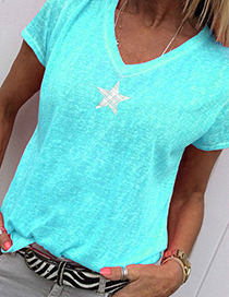 Fashion Blue Star Print V-neck T-shirt