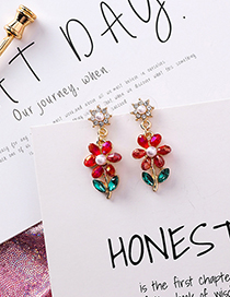 Fashion Red Pearl-studded Flower Earrings