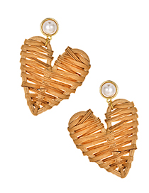 Fashion Brown Alloy Pearl Rattan Love Heart Stud Earrings