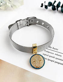 Fashion Silver Stainless Steel Copper Inlay Zircon Round Palm Bracelet