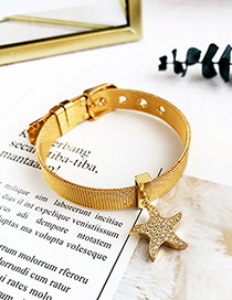 Fashion Gold Stainless Steel Copper Inlay Zircon Starfish Bracelet