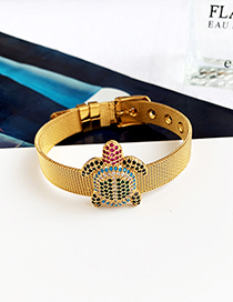 Fashion Gold Stainless Steel Copper Inlay Zircon Turtle Bracelet