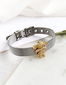 Fashion Silver Stainless Steel Copper Inlay Zircon Girl Bracelet