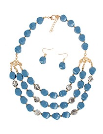 Fashion Lake Blue Acrylic Multi-layer Shaped Bead Necklace