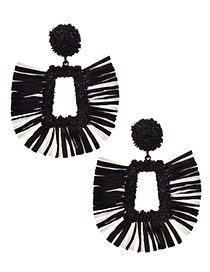 Fashion Black Alloy Square Lafite Earrings