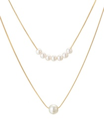 Fashion Gold Knotted Chain Pearl Double Layer Alloy Necklace