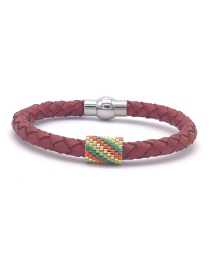 Fashion Color Beizhu Stainless Steel Leather Braided Bracelet