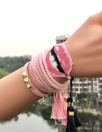 Fashion Pink Suit Crepe Lips: Rice Beads: Woven Bracelet