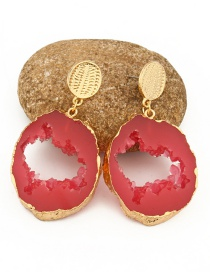 Fashion Red Hollow Resin Earrings