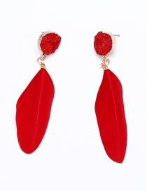 Fashion Red Feather Resin Earrings